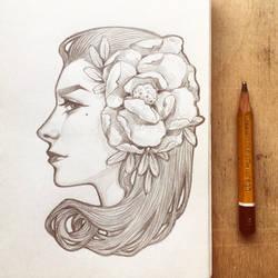 Daily sketch: Art Nouveau girl 2