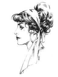 Daily sketch: Ink vintage girl