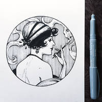 Inktober2019: Image of Maiden: Retro girl