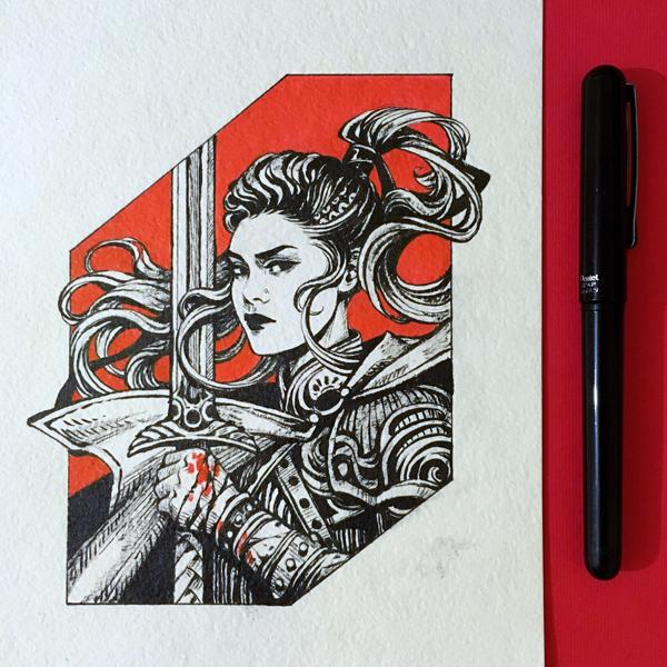 Inktober2019: Image of Maiden: Warrior by dimary