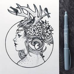 Inktober2019: Image of Maiden: Fauna