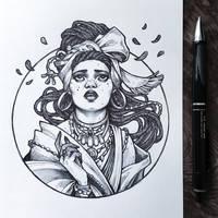 Inktober2019: Image of Maiden: Voodoo