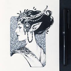 Inktober2019: Image of maiden: Elven Maiden