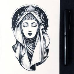 Inktober2019: Image of Maiden: Holy Maiden