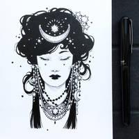 Inktober2019: Image of maiden: Night Maiden