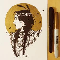 Inktober: Image of Maiden: Native American Beauty