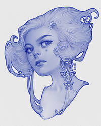 Lady with an earring in blue