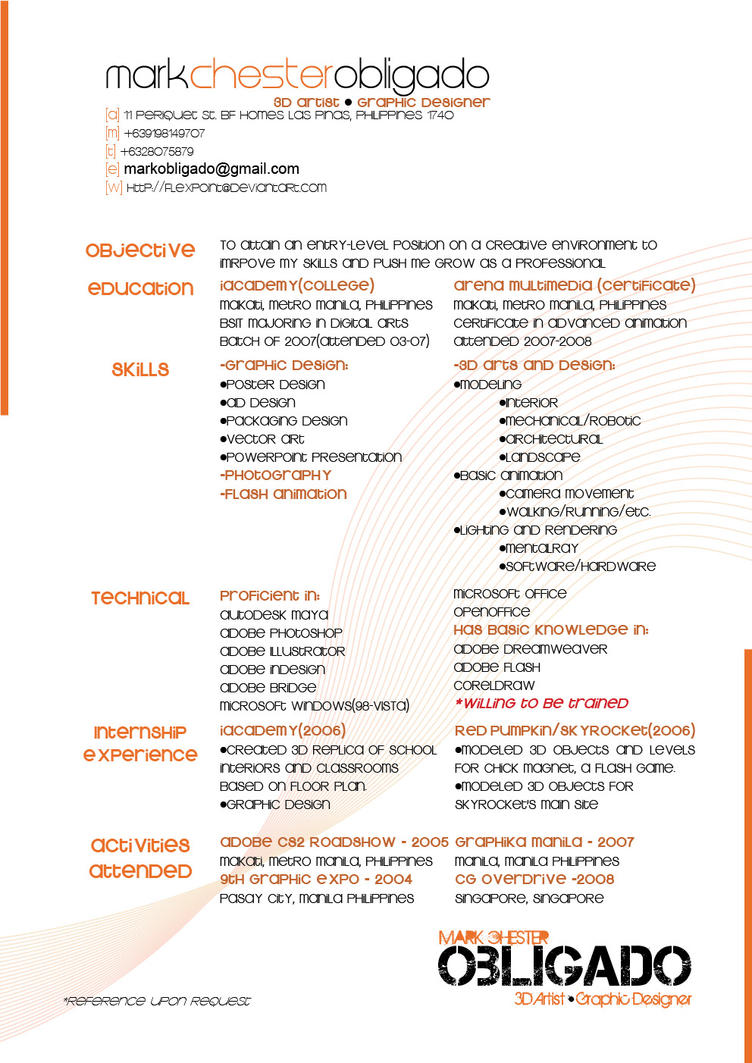 Nice Resume Graphic Artist 2009 By Flexpoint ... With Resume For Artist