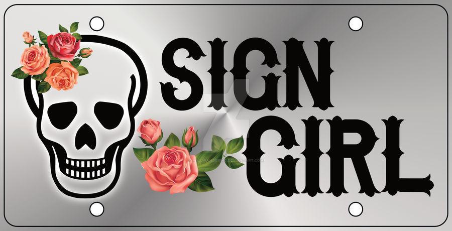 Sign Girl Car Tag