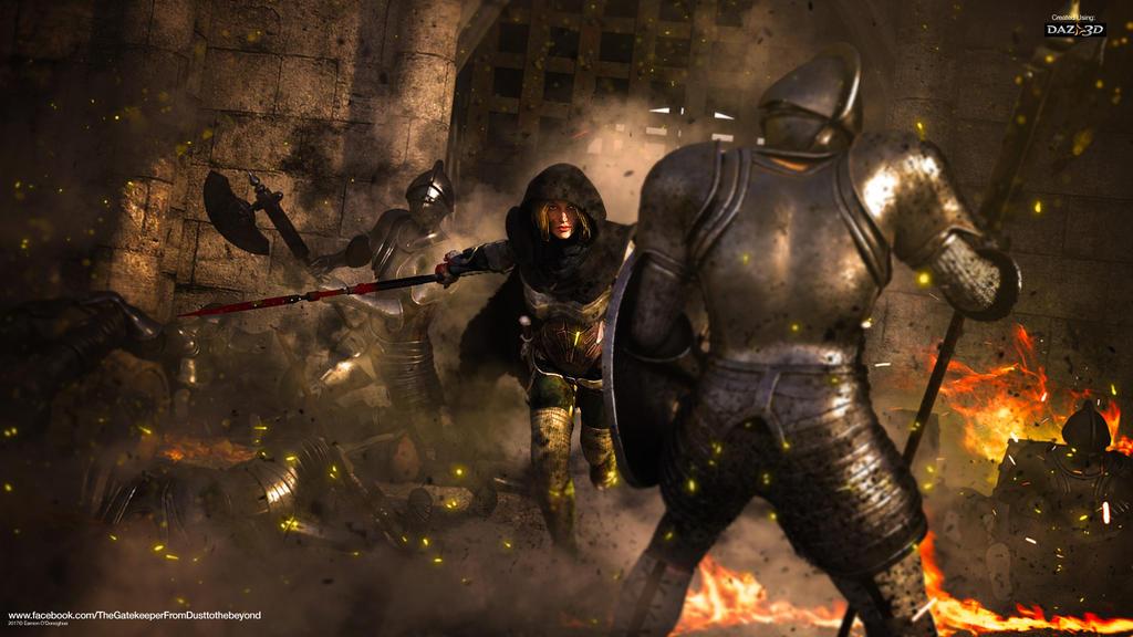 The Gatekeeper - knight fight by Eamonodonoghue