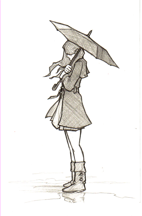 Gallery images and information: Girl With Umbrella Drawing