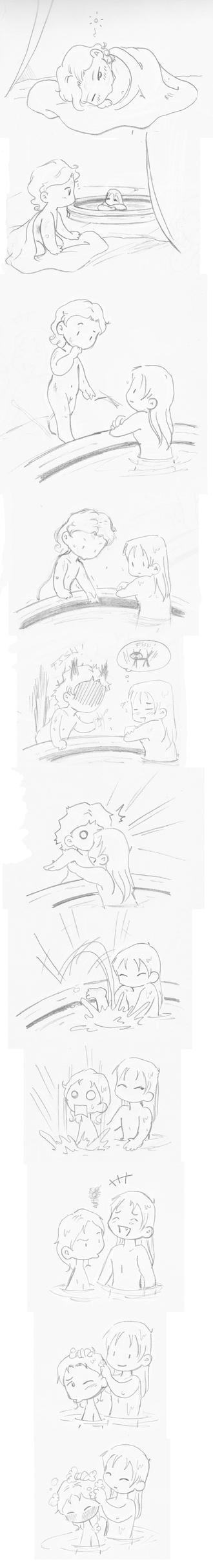 Cute bath scene by Miyucchi