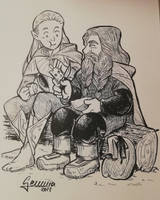 Leogolas and Gimli Slice Inktober 2018 by Miyucchi