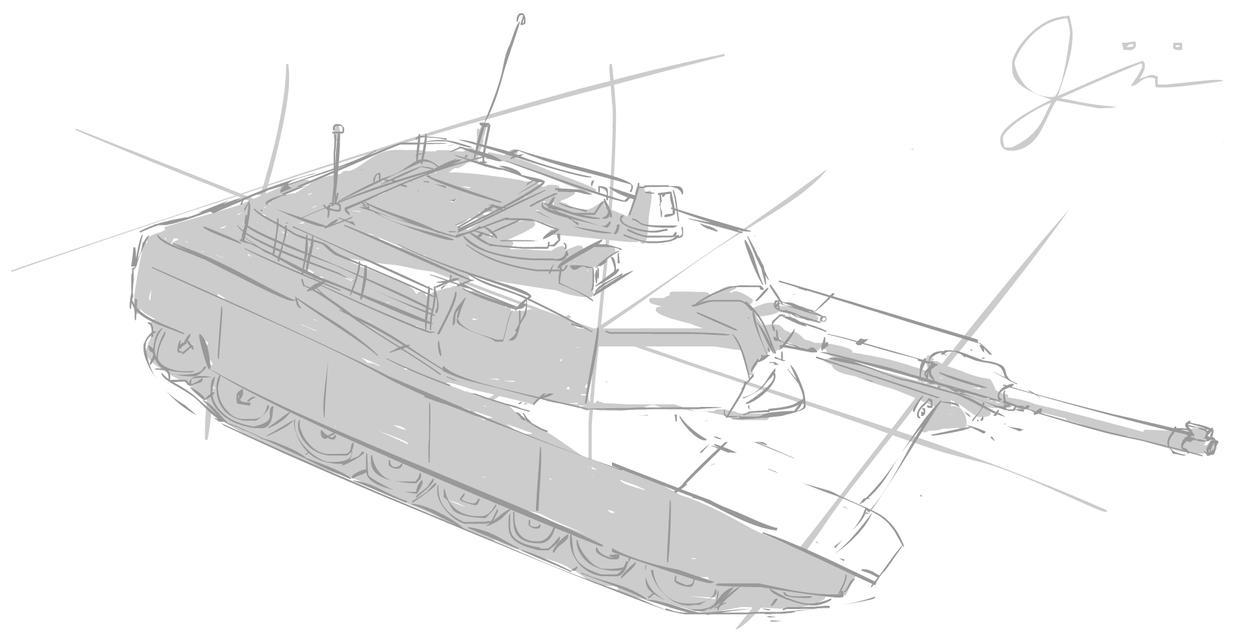 M1 Abrams Tank Study by  M1 Abrams Tank Drawing