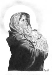 Holy Mary with Jesus by de0ne