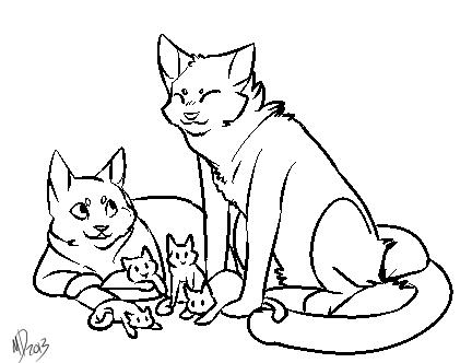 Cat Family Lineart by Akoiyo
