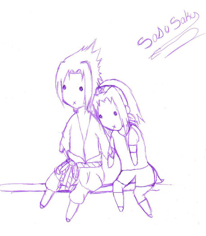 Sasuke and sakura pen sketch by goddesssutaru