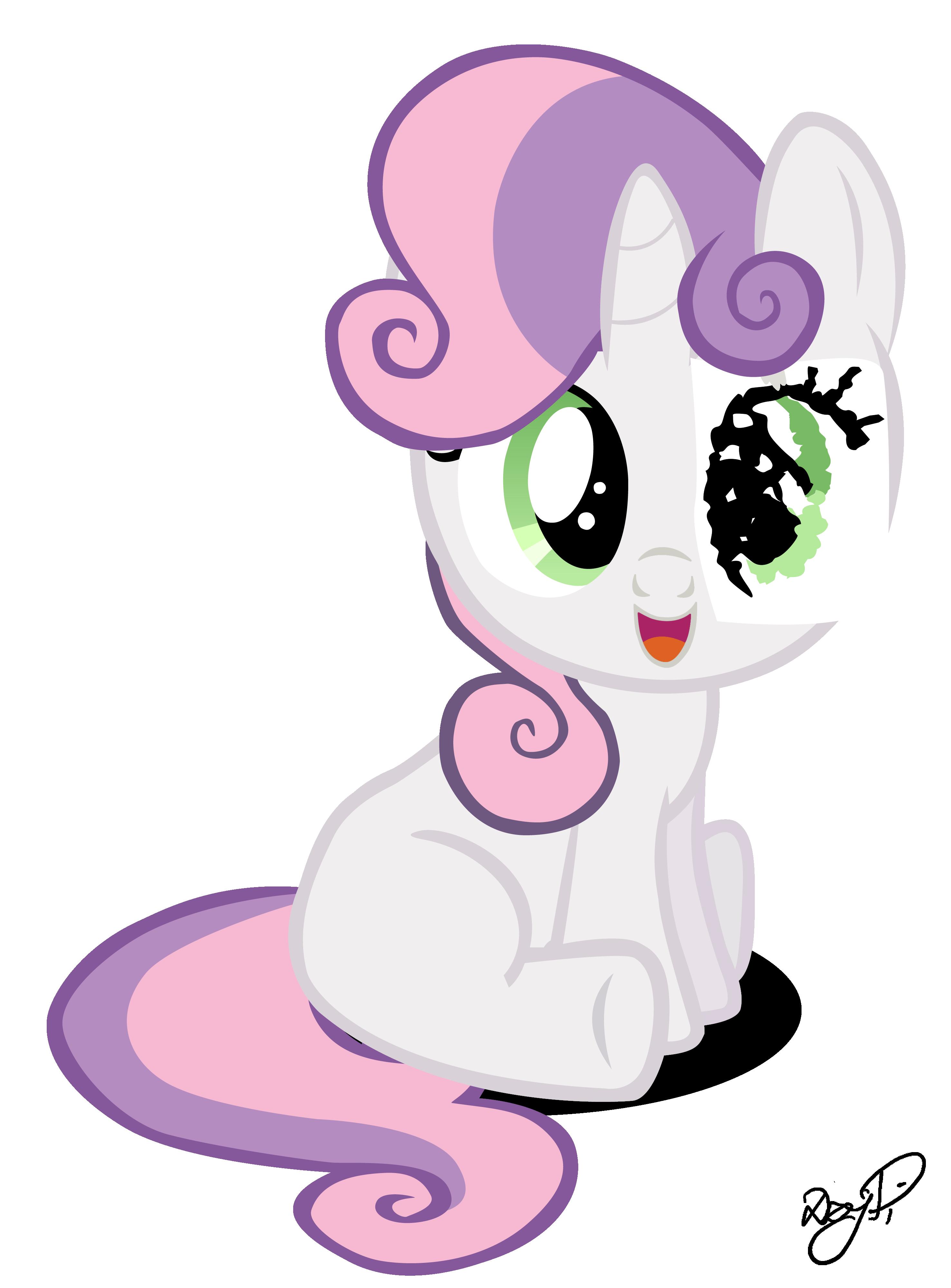 Sweetie Belle with paper eye by DzejPi