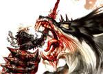 Vampire vs werewolf by ResurrectionCemetery