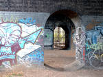 bridge arches with graffiti