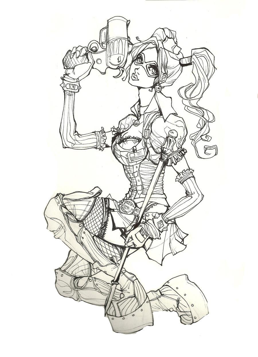 Line Art Harley Quinn : Harley quinn line art by yaoiwowie on deviantart