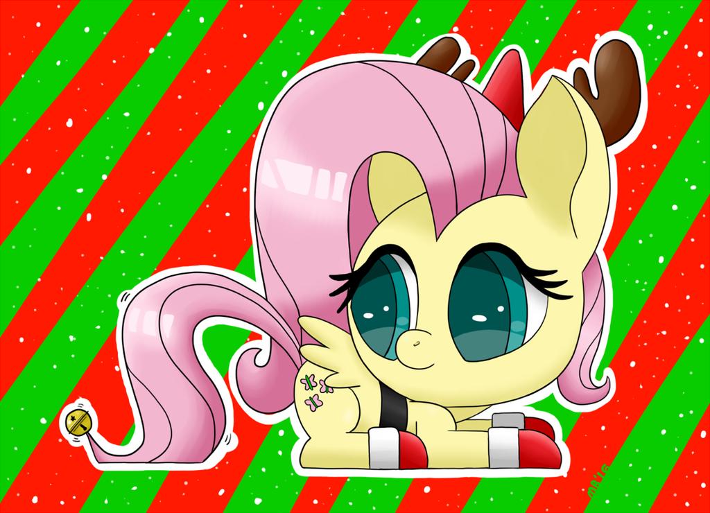 Cute Christmas Fluttershy by Sonikku001