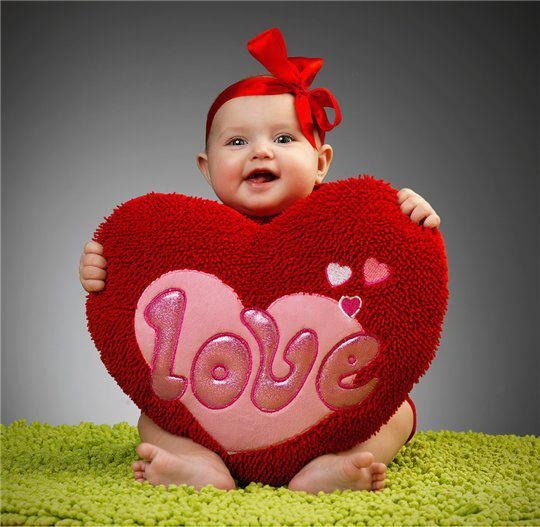 baby holding a love heart plush for valentines day by arianamontana - Baby Valentine