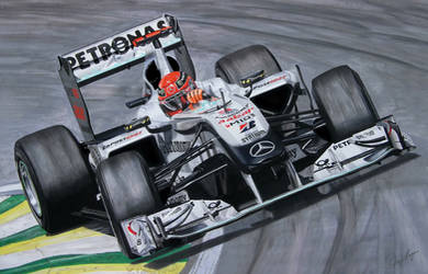 Michael Schumacher Mercedes F1 Art by TonyRegan