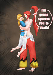 Erza  bearhug to death Link (commission) by UsagiForehead