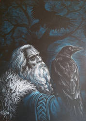 Odin with Hugin and Munin_What will you tell me? by sstefiart