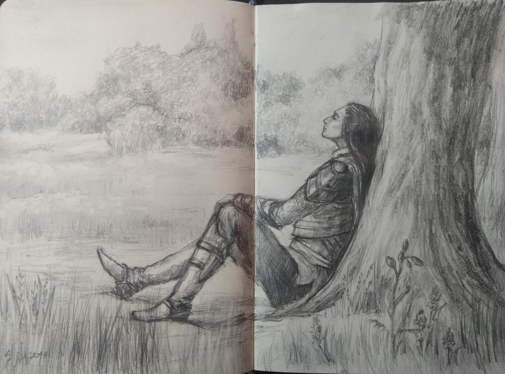 resting elf_sketch by sstefiart