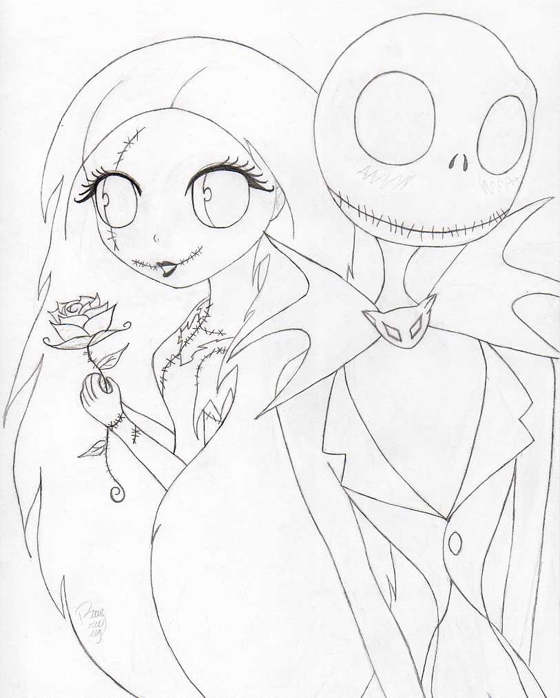 Jack and sally by blue britt bug on deviantart for Jack and sally coloring pages