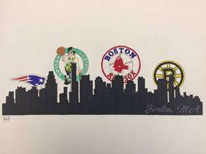 Boston skyline Red Sox, Bruins, Celtics, Patriots