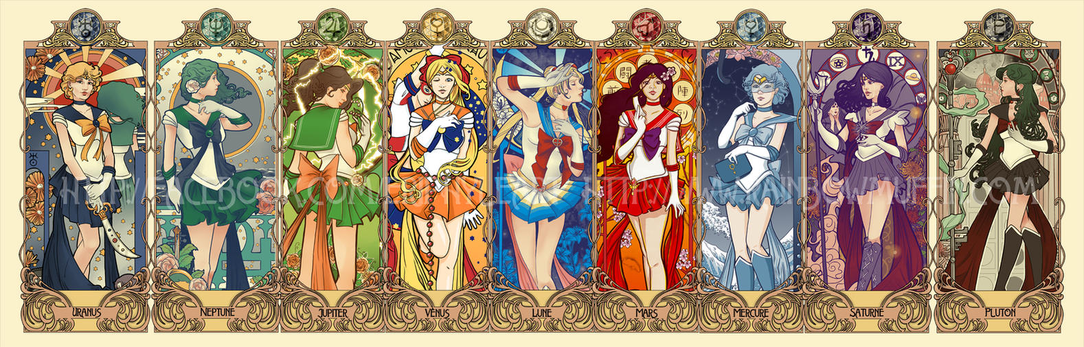 Sailor Moon art nouveau series by eri-phyle