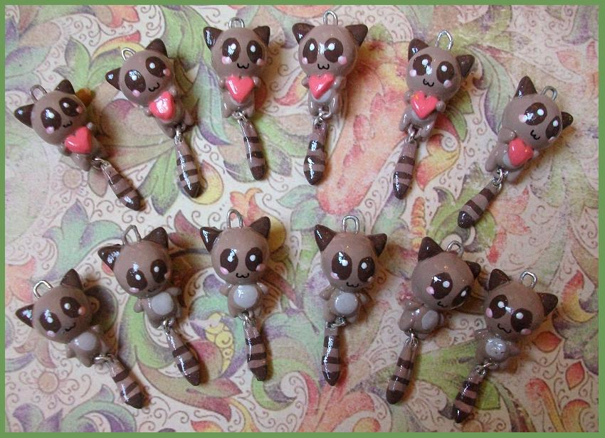 Chibi-Charms: Raccoons by MandyPandaa