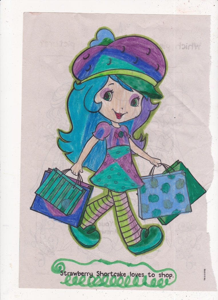 Strawberry Shortcake coloring page, shopping time! by omgpeeps