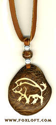Wild Boar Carved Pendant by Foxfeather248