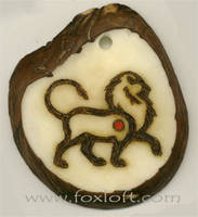 Male Lion Tagua Pendant by Foxfeather248