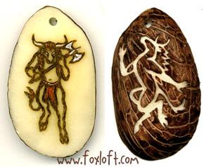 Double Minotaur Tagua Pendant by Foxfeather248