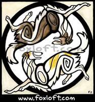 Yin Yang Borzois by Foxfeather248