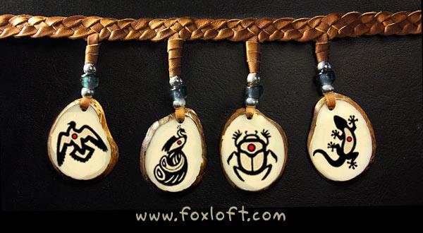 Patreon Pendants - Dove, Peacock, Scarab, Gecko by Foxfeather248
