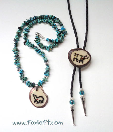 Turquoise Bear and Rhino Bolo Set by Foxfeather248