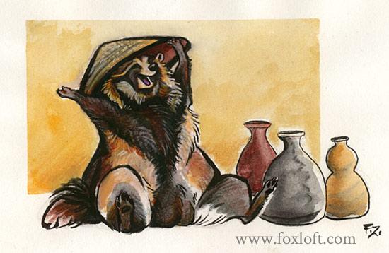 Joyful Tanuki by Foxfeather248