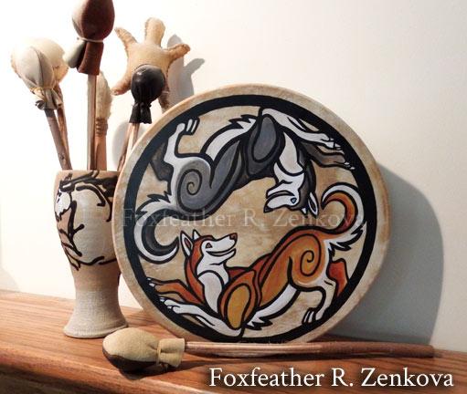 Yin-Yang Siberian Huskies Drum by Foxfeather248