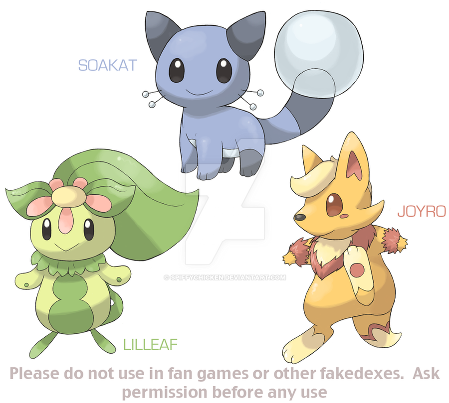 Fakemon Starters by spiffychicken on DeviantArt