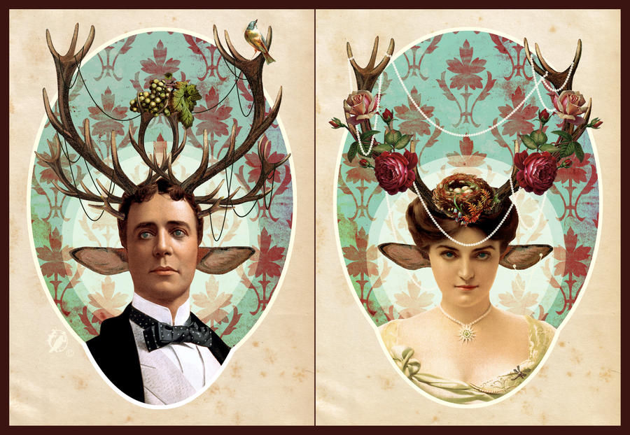 Royal victorian Faun couple by DeerDandy