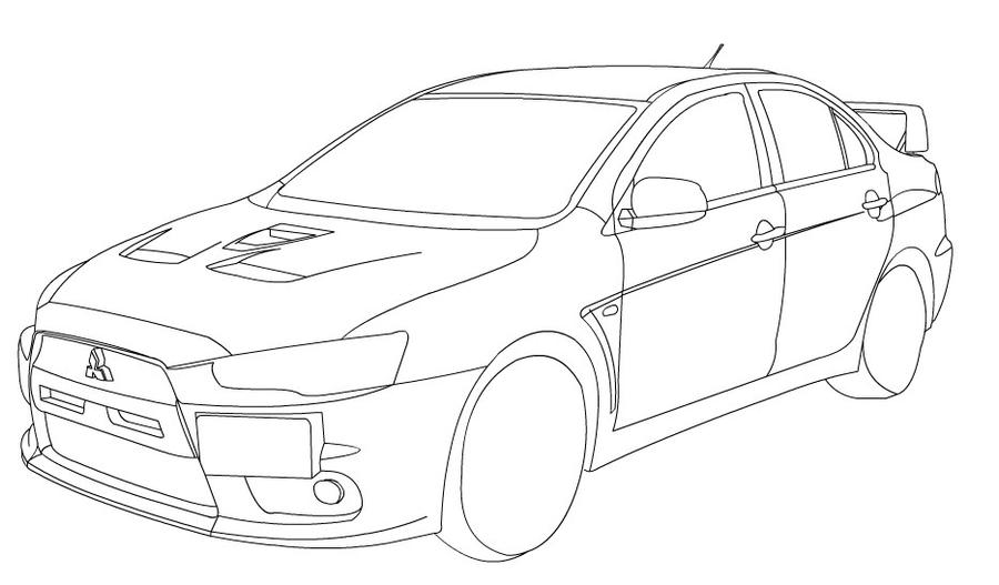 Lancer evo X line-art by leetghostdriver on DeviantArt