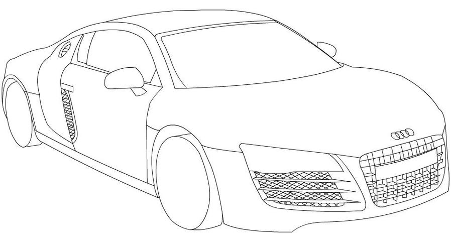 Audi r8 line drawings sketch coloring page for Audi r8 coloring pages