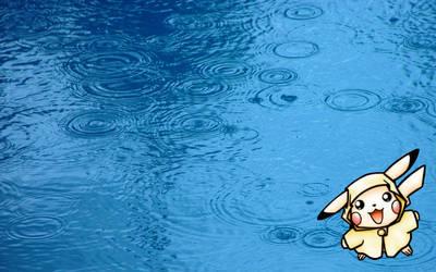 Cute Pikachu in the Rain BG