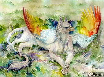 rainbow gryphon by akreon